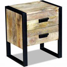 2 fiókos tömör mangófa kis asztal 43x33x51 cm