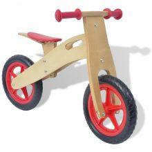 Lábbal hajtható fa kerékpár piros színben