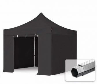 Professional összecsukható sátrak PROFESSIONAL 400g/m2 ponyvával, alumínium szerkezettel, 4 oldalfallal, ablak nélkül - 3x3m fekete