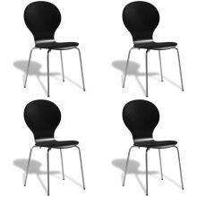 VID 4 db egymásba rakható pillangó szék fekete színben