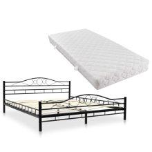 VID fekete fém ágy, ívelt ágyráccsal + matraccal 180x200 cm
