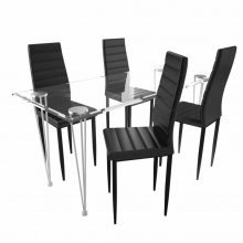 Étkezőgarnitúra 4 db bordázott székkel Fekete