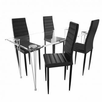 VID Étkezőgarnitúra 4 db bordázott székkel Fekete