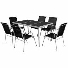 VID 7 részes fekete kültéri étkezőgarnitúra