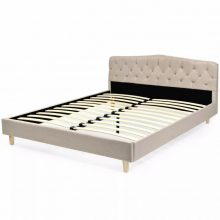 VID Kárpitozott ágy 160x200cm ágyráccsal bézs