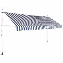 VID Manuálisan feltekerhető napellenző - 400 cm - kék fehér csíkokkal