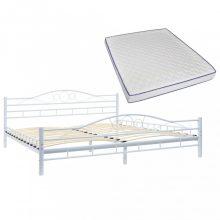 VID fehér hullámmintás fém ágy memóriahabos matraccal 180x200 cm