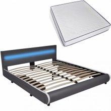 """PU bőr ágy 180x200 cm """"V11"""" memóriahabos matraccal, LED világítással, ágyneműtartóval, szürke színben"""