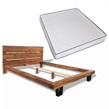 VID Krevet od masivnog bagremovog drva s madracem 180 x 200 cm