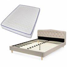 VID Kárpitozott ágy ágyráccsal, memóriahabos matraccal, 160x200 cm, bézs színben