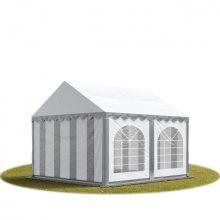 TP Professional deluxe 3x4m nehéz acélkonstrukciós rendezvénysátor erősített tetőszerkezettel szürke-fehér tűzálló ponyvával