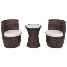 2 személyes 5 részes kültéri polyrattan bútorszett barna színben