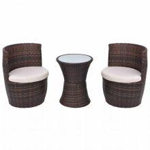 VID 2 személyes 5 részes kültéri polyrattan bútorszett barna színben