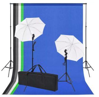 VID fotó stúdió szett: 5 db színes háttér és 2 db ernyő