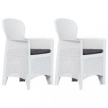 VID 2 db fehér rattan hatású műanyag kerti szék párnával