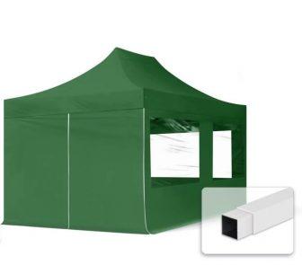 Professional összecsukható sátrak ECO 300g/m2 ponyvával, acélszerkezettel, 4 oldalfallal, panoráma ablakkal - 3x4,5m zöld