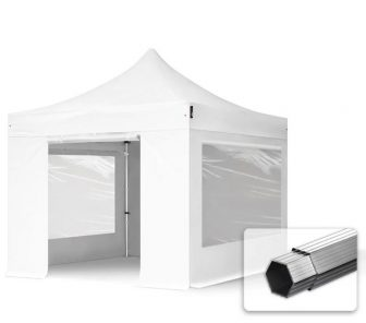 Professional összecsukható sátrak PROFESSIONAL 400g/m2 ponyvával, alumínium szerkezettel, 4 oldalfallal, panoráma ablakkal - 3x3m fehér