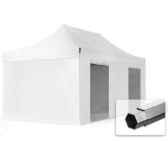 Professional összecsukható sátrak PROFESSIONAL 400g/m2 ponyvával, alumínium szerkezettel, 4 oldalfallal, ablak nélkül - 3x6m fehér