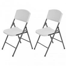 VID 2 db fehér összecsukható acél és HDPE kerti szék