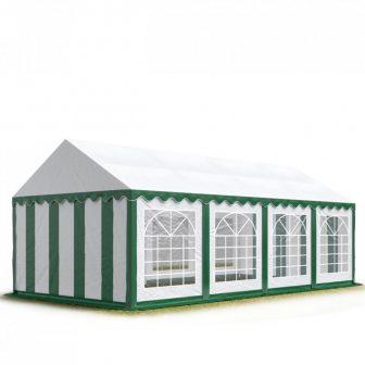 TP Professional deluxe 3x8m nehéz acélkonstrukciós rendezvénysátor erősített tetőszerkezettel zöld-fehér
