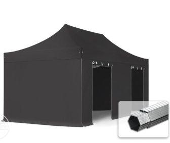 Professional összecsukható sátrak PROFESSIONAL 400g/m2 ponyvával, alumínium szerkezettel, 4 oldalfallal, ablak nélkül - 3x6m fekete