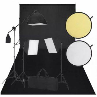 VID Stúdió felszerelés fekete háttérrel, derítőlappal + 3 softbox