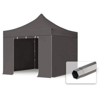 Professional összecsukható sátrak PREMIUM 350g/m2 ponyvával, acélszerkezettel, 4 oldalfallal, ablak nélkül - 3x3m sötétszürke