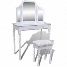 """VID Fésülködőasztal/Sminkasztal tükörrel, ülőkével """"3 az 1-ben"""""""