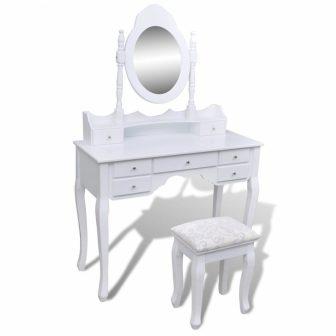 """VID Fésülködőasztal/sminkasztal tükörrel, ülőkével """"Velence"""""""