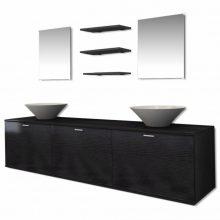 VID 8 részes fürdőszoba bútor szett fekete színben