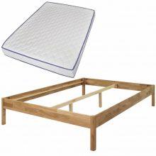 Bračni krevet od masivne hrastovine s madracem 180 x 200 cm