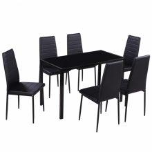 Modern tervezésű asztal 6 székkel, étkező szett Fekete