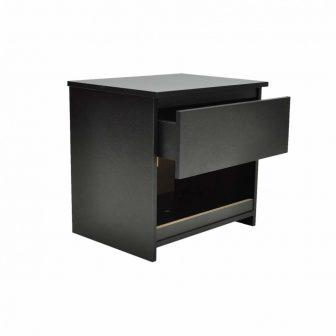 VID Egy fiókos éjjeli szekrény/ hálószoba asztal Fekete 2 db