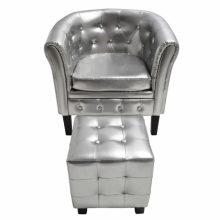 Ezüst Chesterfield fotel + puff