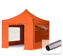 Professional összecsukható sátrak PREMIUM 350g/m2 ponyvával, acélszerkezettel, 4 oldalfallal, panoráma ablakkal - 3x3m narancssárga