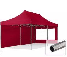 Professional összecsukható sátrak PREMIUM 350g/m2 ponyvával, acélszerkezettel, 2 oldalfallal, panoráma ablakkal - 3x6m bordó