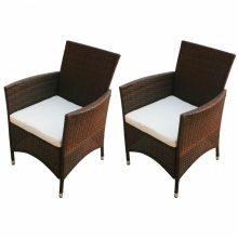 2 db polyrattan kerti szék barna színben