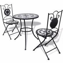 Mozaik bisztró kerti étkezőgarnitúra - fekete