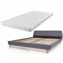 VID Kárpitozott ágy ágyráccsal, matraccal, 180x200 cm, világosszürke színben