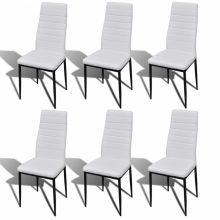 6 db-os ergonomikus kialakítású műbőr étkezőszék szett fehér színben