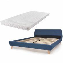 VID Kárpitozott ágy ágyráccsal, matraccal, 140x200 cm, kék színben