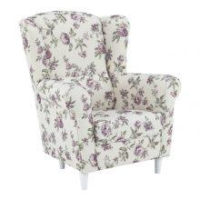 TEKO Stílusos lila virág mintás szövet fotel