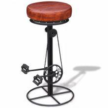 VID Barna és valódi bőr fekete bárszék bicikli pedállal 284751