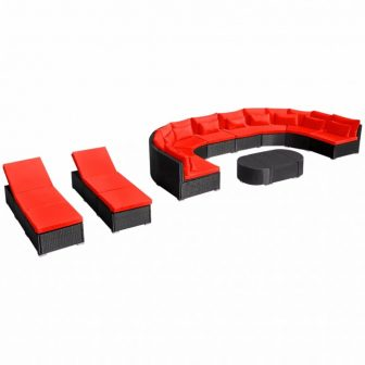 VID Kerti polyrattan kanapé szett napozóágyakkal Vörös