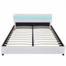 """PU bőr ágy 160x200 cm """"V9"""" LED világítással, fehér színben"""
