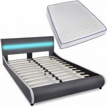 """PU bőr ágy 140x200 cm """"V11"""" memóriahabos matraccal, LED világítással, szürke színben"""