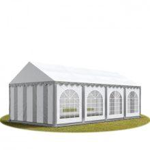 TP Professional deluxe 5x8m nehéz acélkonstrukciós rendezvénysátor erősített tetőszerkezettel szürke-fehér tűzálló ponyvával