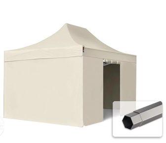 Professional összecsukható sátrak PREMIUM 350g/m2 ponyvával, acélszerkezettel, 4 oldalfallal, ablak nélkül - 3x4,5m bézs