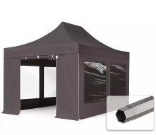Professional összecsukható sátrak PREMIUM 3x4,5m-400g/m2 ponyvával-acélszerkezettel-sötétszürke