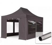 Professional összecsukható sátrak PREMIUM 350g/m2 ponyvával, acélszerkezettel, 4 oldalfallal, panoráma ablakkal - 3x4,5m sötétszürke